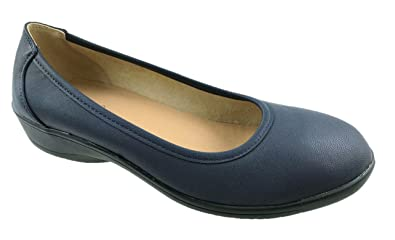 fc873085ca9 Donna Ladies Extra Wide Fit EE Slip On Flat Soft Comfort Walking Shoes Size  UK 4-10  Amazon.co.uk  Shoes   Bags