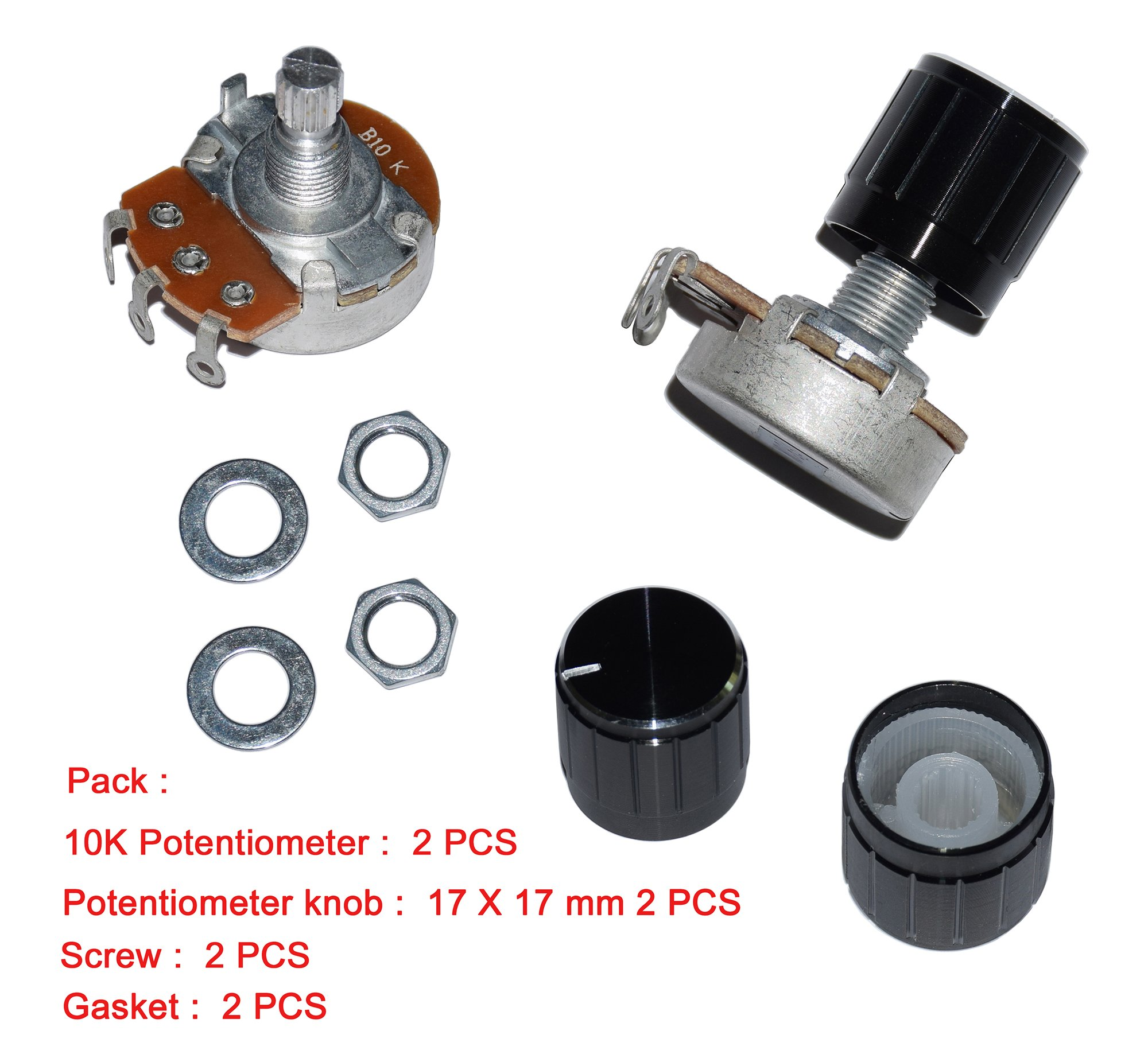 10K Ohm potentiometer potential+black control Knob