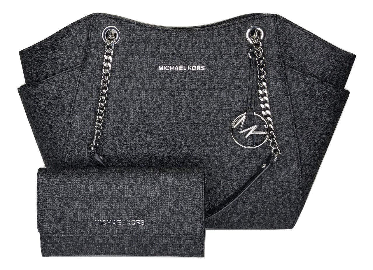 MICHAEL Michael Kors Jet Set Travel Large Chain Shoulder Tote bundled with Michael Kors Jet Set Travel Trifold Wallet (Signature MK Black)