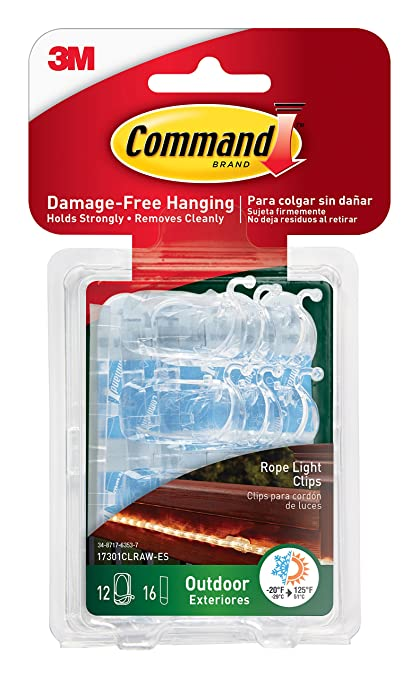 Amazon command outdoor rope light clips with foam strips command outdoor rope light clips with foam strips clear 12 clips 17301clraw aloadofball Image collections