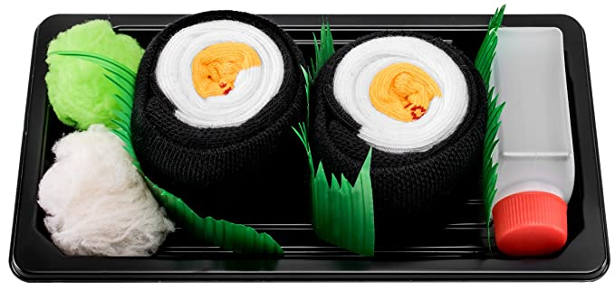 Sushi Socks Box - 1 par de CALCETINES: Maki de Oshinko - REGALO DIVERTIDO,