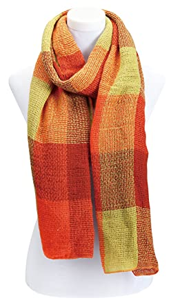 Harpe Femme Foulard Quadrille Rouge Orange Amazon Fr Vetements Et