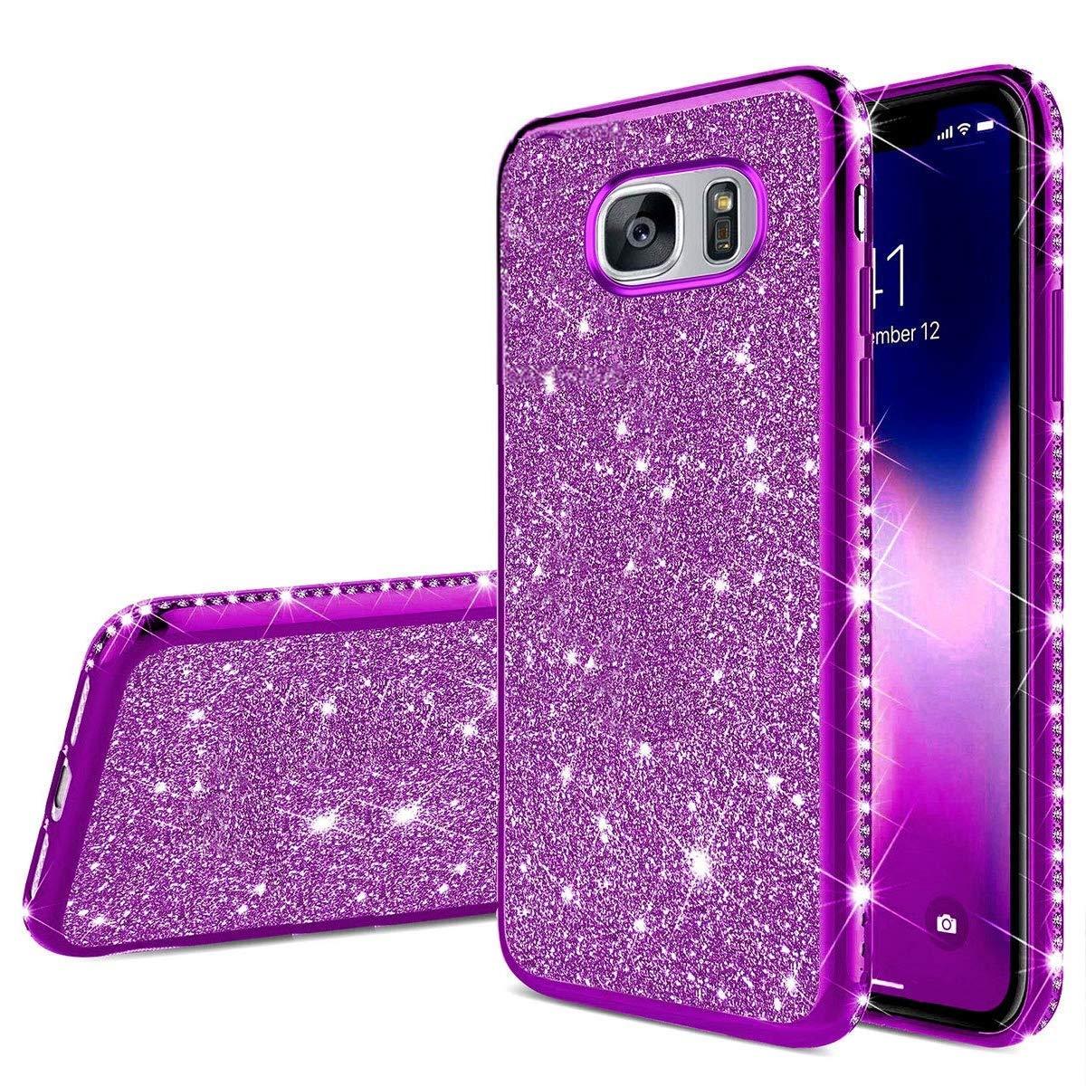 Herbests Kompatibel mit Samsung Galaxy S7 Edge H/ülle Glitzer M/ädchen Schuzh/ülle Kristall Bling Glitzer Strass Diamant /Überzug Ultra D/ünn Durchsichtige Transparent Silikon Handyh/ülle Tasche,Lila