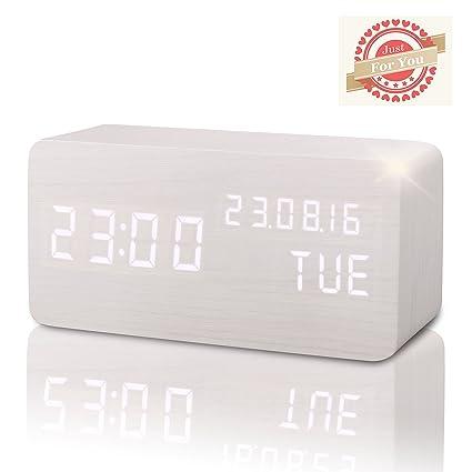 Reloj Digital Despertador Madera de Haya con Control de Sonido y LED ...