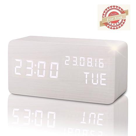 Reloj Digital Despertador Madera de Haya con Control de Sonido y LED Brillo de la Pantalla(Blanco-FR)