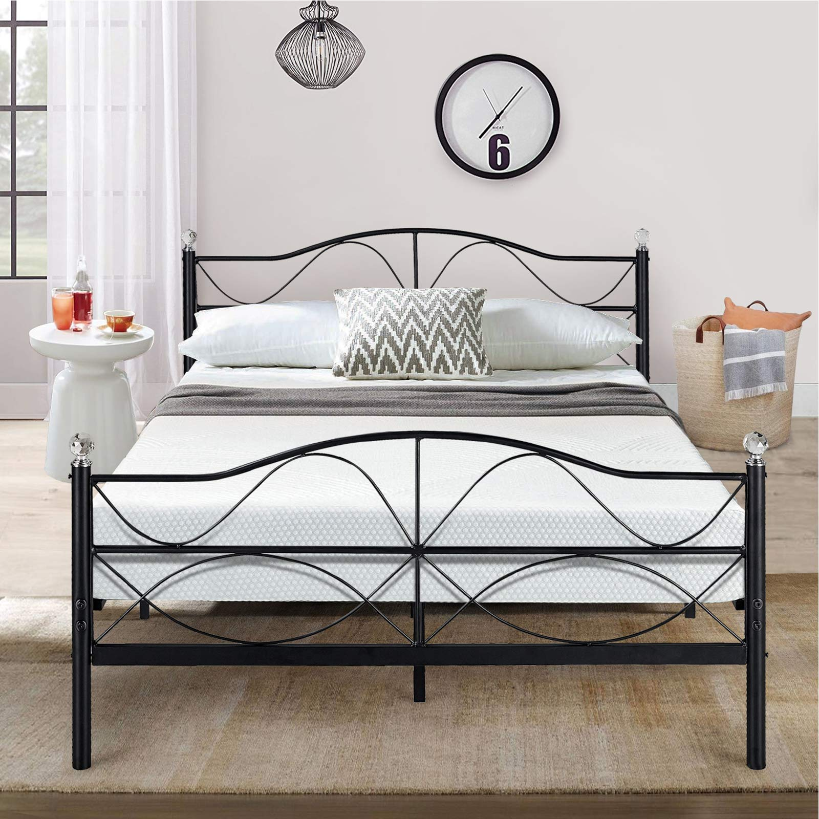 VECELO Premium Queen Size Bed Frame Metal Platform Mattress Foundation/Box Spring Replacement with Headboard, Deluxe Crystal Ball Stylish,