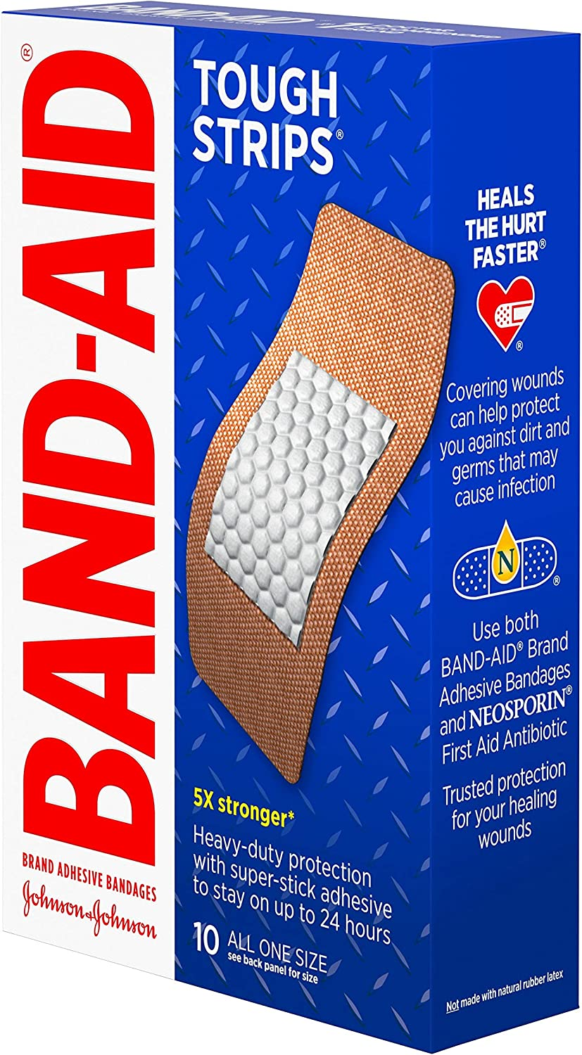 Band-Aid Brand Tough Strips Adhesive Bandages for Wound Care, Durable Protection for Minor Cuts and Scrapes, Extra Large Size, 10 ct, pack of 2: Health & Personal Care