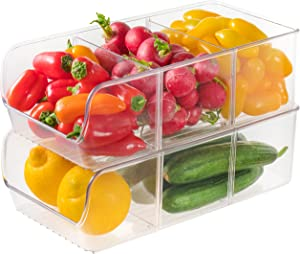Refrigerator Organizer Bins, Set of 2 with Removable Dividers - Clear Plastic Storage Bins for Freezer, Kitchen Cabinets and Kitchen Pantry Storage - Size: 11.42 x 6.1 x 5.2 Inches