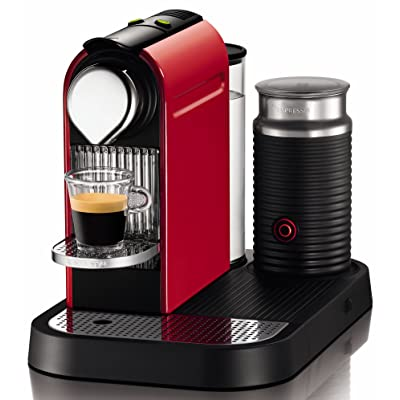 Nespresso C120-US-RE-NE CitiZ Automatic Single-Serve Espresso Maker and Milk Frother, Fire-Engine Red