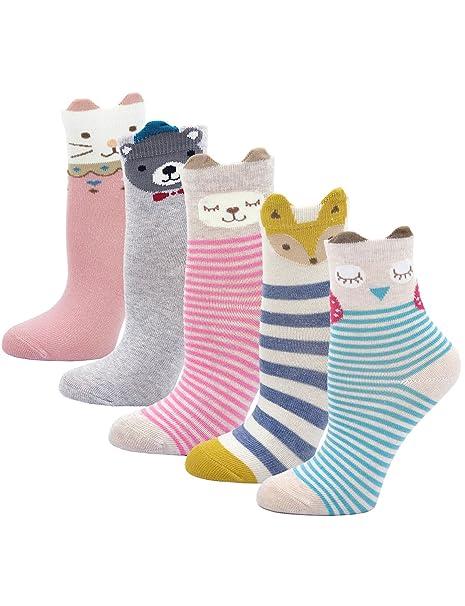 PUTUO Calcetines de Algodón Niñas Navidad Calcetines Térmicos, Niña Calcetines de Invierno Lindo Caliente Calcetines, 2-11 años, 5 pares: Amazon.es: Ropa y ...
