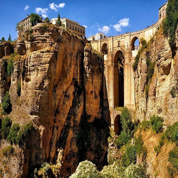 TONGSS Ronda España Puente De La Montaña Arco Cañón Paisaje Natural Tela De Seda Paño Tela Etiqueta De La Pared De Impresión, 60 * 90 Cm Sin Marco: Amazon.es: Hogar