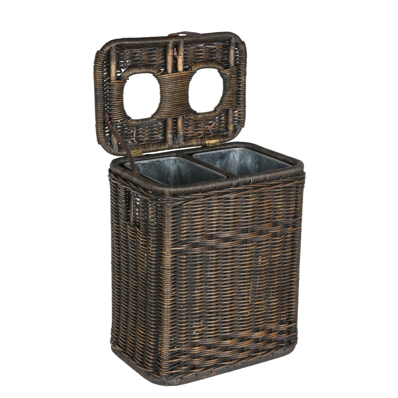 Antique Walnut Brown 20 in L x 13 in W x 24 in H The Basket Lady Wicker Drop-in Divided Recycling Basket