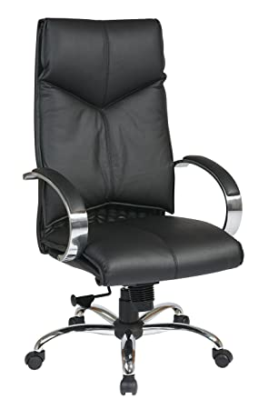 Exceptionnel High Back Executive Leather Chair With Chrome Base