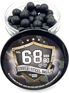 SSR 100 x S - Style Premium Quality Hard Rubber Steel Balls Paintballs Powerballs 7 gr. Heavy Ammo for Self and Home Defense Training Pistols in 68 Cal.