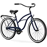 "sixthreezero Around The Block Women's Single-Speed Beach Cruiser Bicycle, 26"" Wheels, Navy Blue with Black Seat and…"