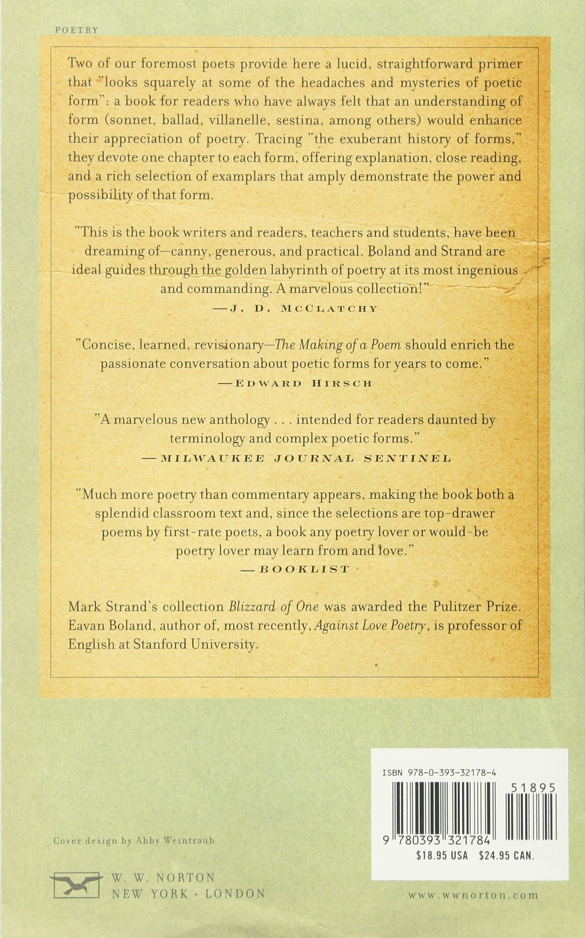 Amazon.com: The Making of a Poem: A Norton Anthology of Poetic Forms  (8601300247762): Eavan Boland, Mark Strand: Books