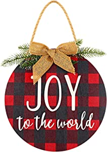 Jetec Christmas Round Wood Hanging Sign Rustic Front Door Decor with Decorative Bow Joy Sign Hanging Plaid Wreath Farmhouse Porch Decoration for Christmas Door Wall House Decoration