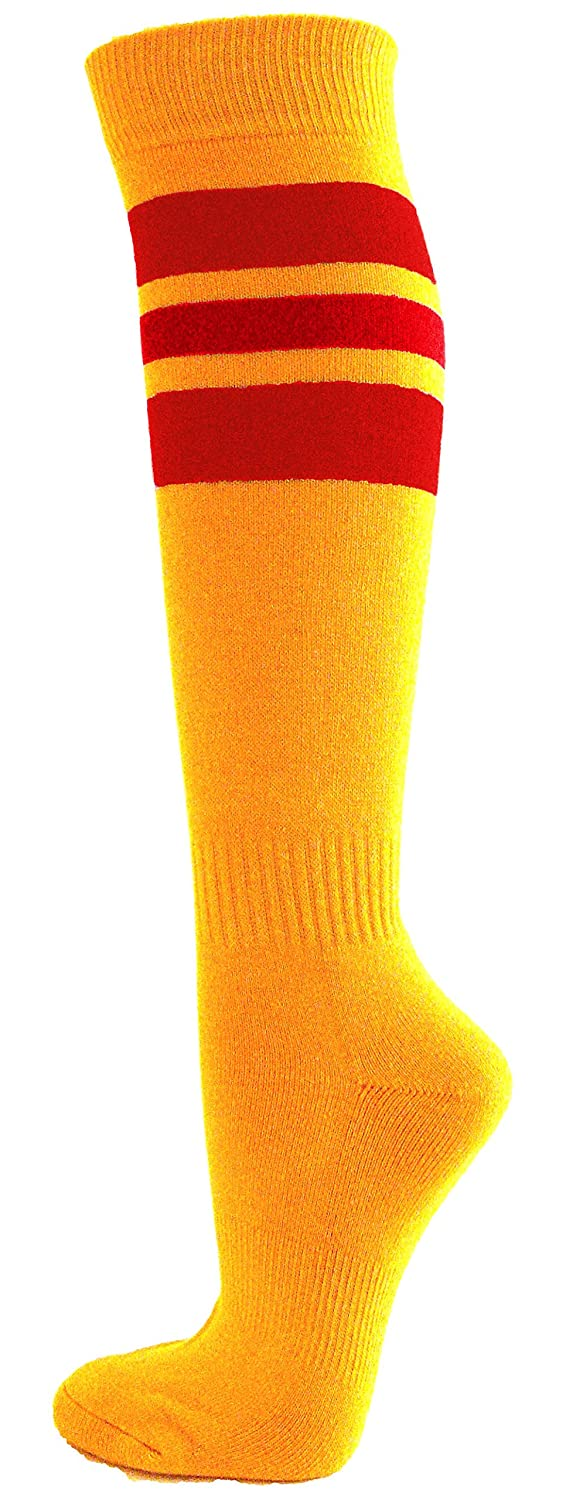Couver Stripes on Gold Yellow Knee High Sports/Softball Socks, 1 pair SSS06-GLDYLW_BLE-M