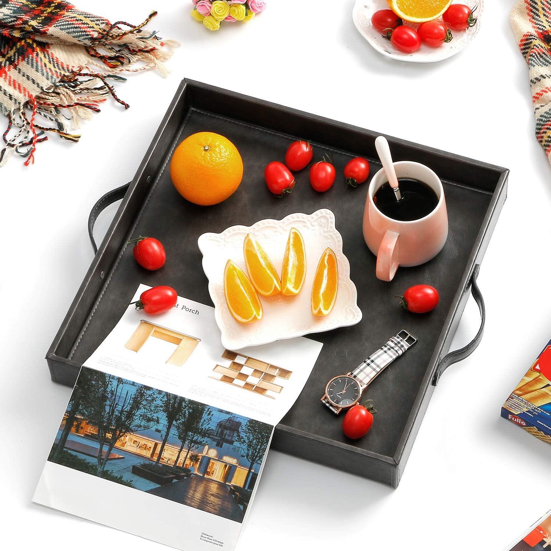 Ranslen Ostrich - Bandeja rectangular de piel sintética para desayuno, mesa de café con asas para desayuno en la cama: Amazon.es: Hogar