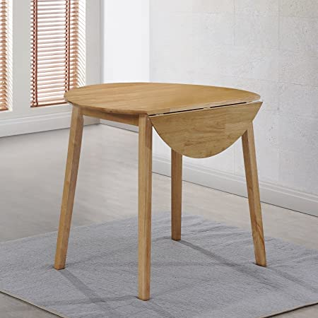 New Haven Round Drop Leaf Dining Table In Light Oak Finish