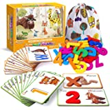 Animal Numbers and Alphabets Flash Cards for Toddlers Age 2 3 4 Years Old, Wooden Letters & Numbers Flashcards ABC Montessori