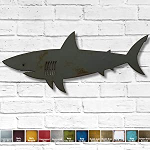 "Shark Metal Wall Art Home Decor - Handmade - Choose 11"", 17"" or 24"" wide, Choose your Patina Color"