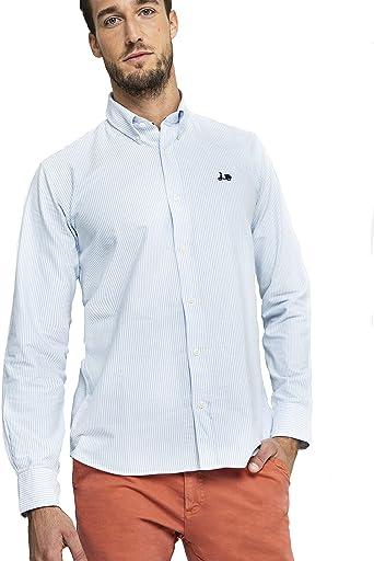 Scotta 1985 - Camisa Oxford para Hombre Algodón, Estilo Elegante y Juvenil, Rayas Azules: Amazon.es: Ropa y accesorios
