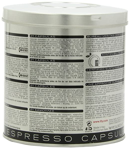 Amazon.com : 6 cans of Cafe Espresso 21 Capsules (126 pcs) Mie Illy Iperespresso, Black, Roasting S, Hardshell, 100% Arabica Ipso Home (Capsule Metodo ...