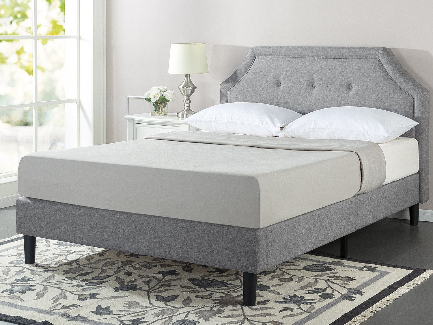 Zinus Lyon Upholstered Button Tufted Platform Bed Mattress Foundation Easy Assembly Strong Wood Slat Support, Queen