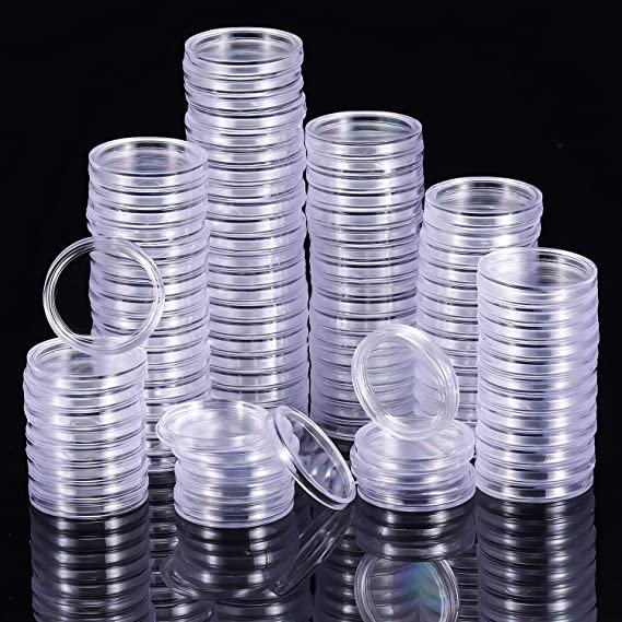 10Pcs 18mm plastic round applied clear cases coin storage capsules holde HV