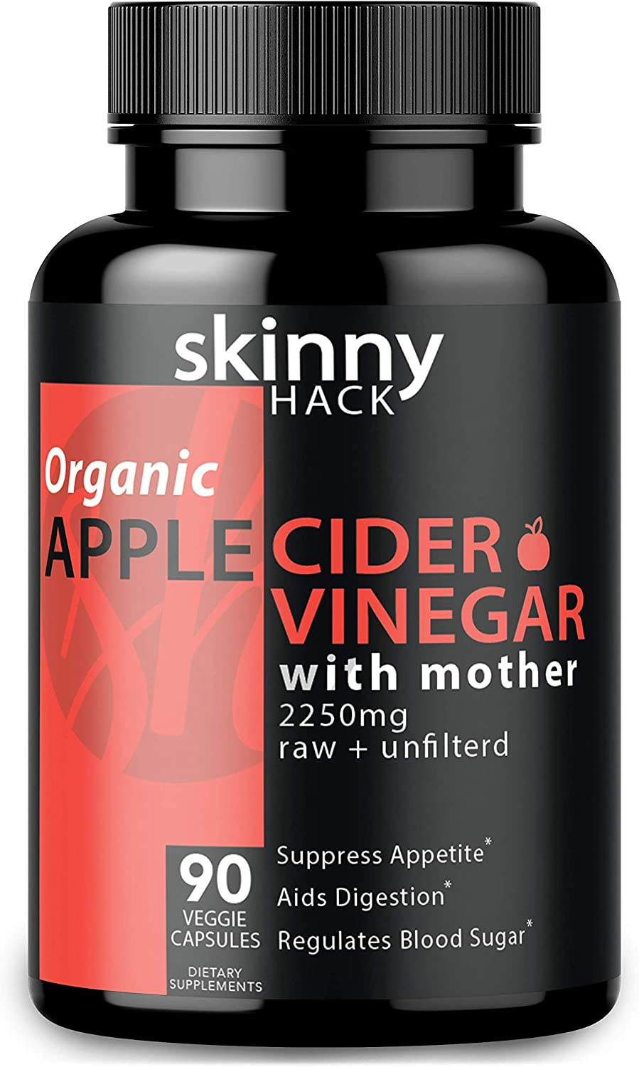 Organic Apple Cider Vinegar Capsules with Mother – Max Dose 2200 mg Raw Unfiltered ACV Pills for Weight Loss, Detox and Anti-Bloating 90 Vegan ACV Capsules
