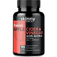 Organic Apple Cider Vinegar Capsules with Mother - Max Dose (2200 mg) Raw Unfiltered ACV Pills for Weight Loss, Detox and Anti-Bloating (90 Vegan ACV Capsules)