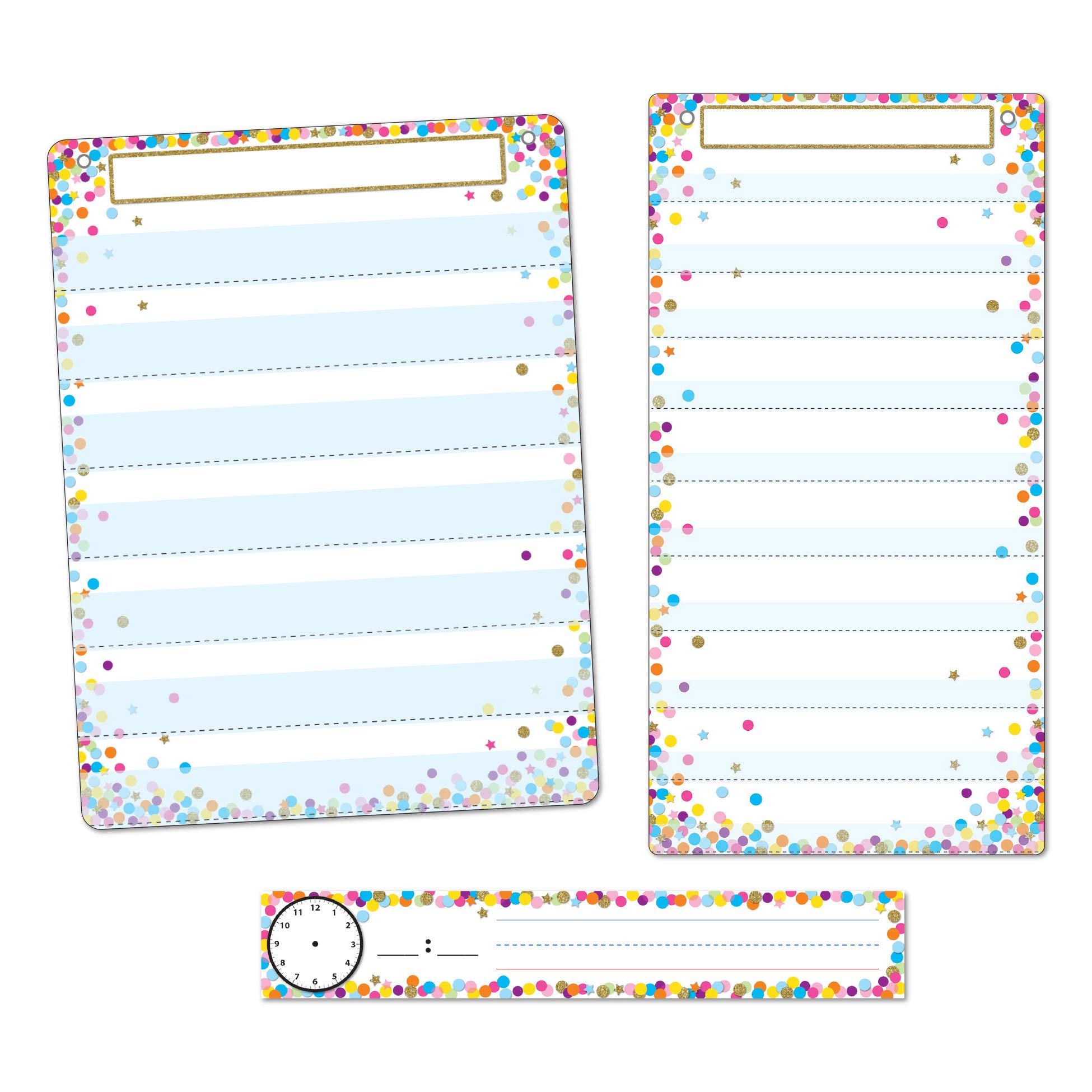 Ashley Productions ASH94500 Smart Poly Confetti 3-Piece Pocket Chart Set, Polypropylene (PP),