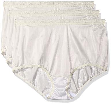 0d4cf666cea Shadowline Women s Plus-Size Panties-Low Rise Nylon Brief (3 Pack) at Amazon  Women s Clothing store