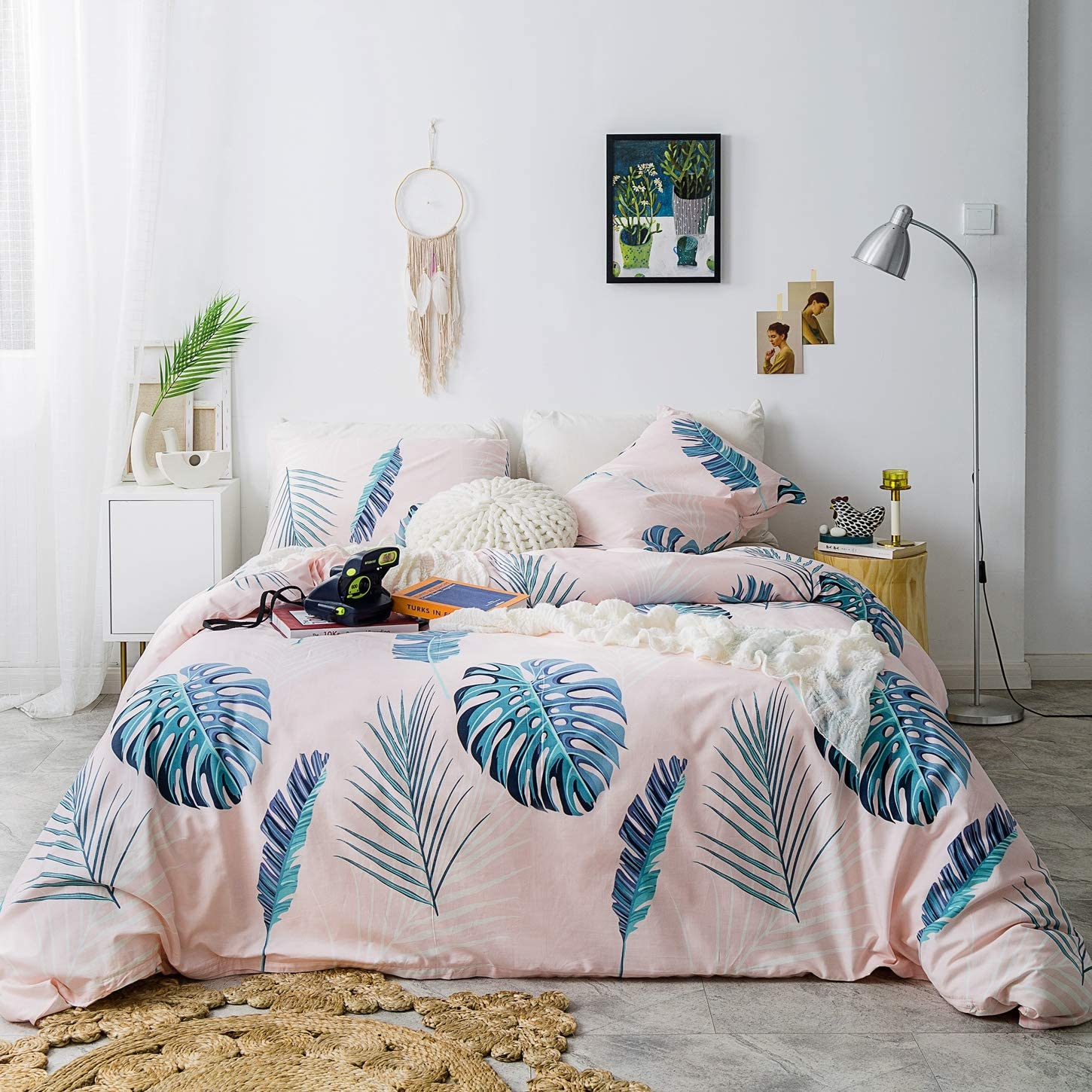 SUSYBAO 3 Pieces Duvet Cover Set 100% Natural Cotton Peachpuff Queen Size Monstera Leaf Bedding Set with Zipper Ties 1 Green Palm Tree Leaves Duvet Cover 2 Pillowcases Luxury Quality Soft Comfortable