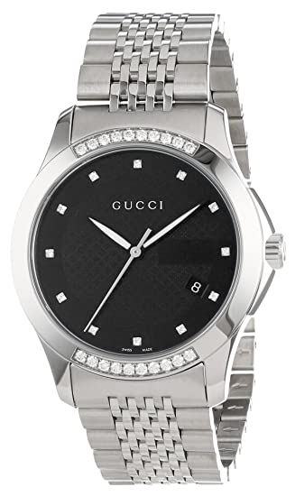 4ddcc8761a6 Gucci Men s G-Timeless Medium Diamond Dial Steel Watch Black YA126408   Amazon.ca  Watches