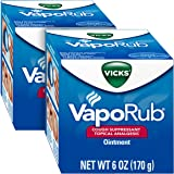Vicks VapoRub Chest Rub Ointment 6 oz (2 Pack) - Relief from Cough, Cold, Aches, and Pains, with Original Medicated…