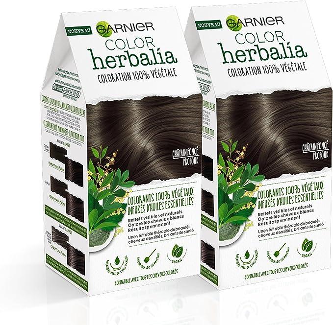 Color herbalia Coloración 100% vegetal Castaño Oscuro Profundo – – Juego de 2