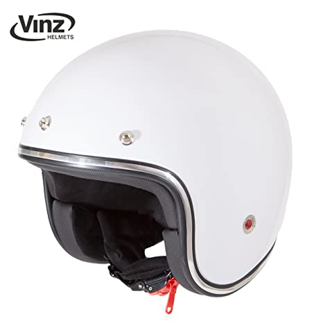 Casco moderno de moto Vinz, tipo jet, color blanco en tallasXS - XL, casco con visera, certificado ECE, estilo retro