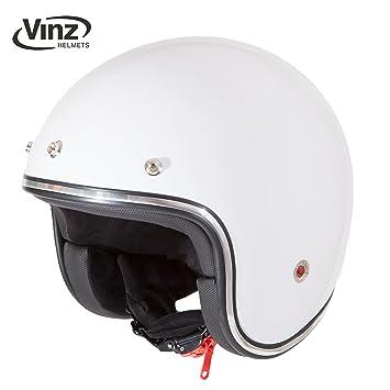 Casco moderno de moto Vinz, tipo jet, color blanco en tallasXS - XL,