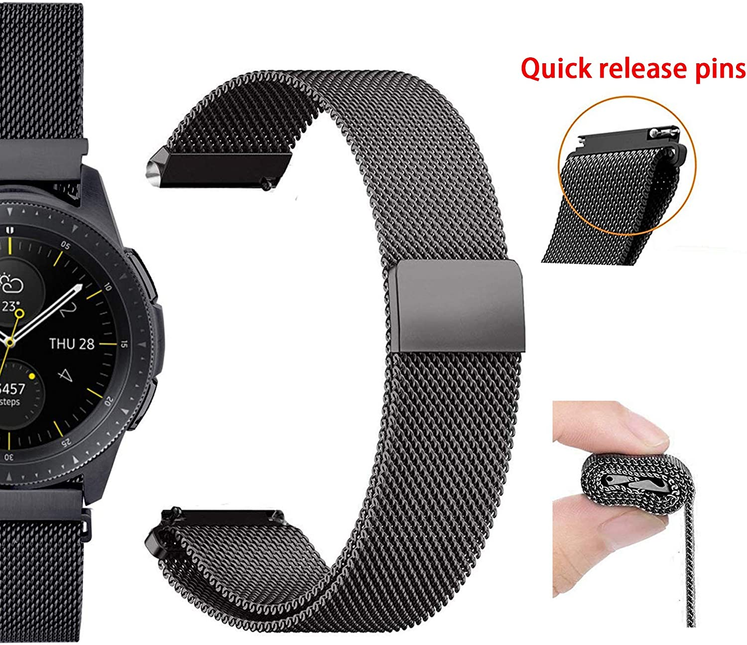 20mm Watch Bands Compatible with Samsung Galaxy Watch 42mm Amazfit Bip Ticwatch E/2, Metal Stainless Steel Replacement Sport Strap for All Other Smart ...