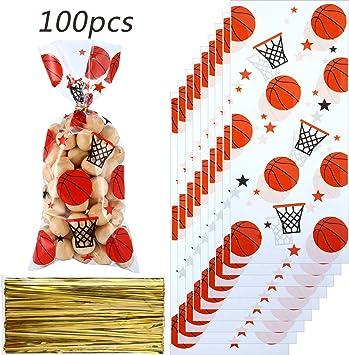 Amazon.com: Blulu 100 bolsas de fiesta de baloncesto para ...