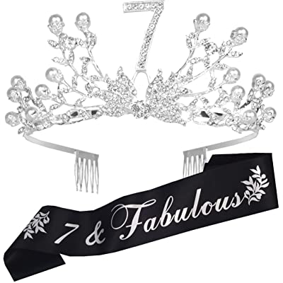 7th Birthday Decorations Party Supplies, 7th Birthday Gifts, Silver 7th Birthday Tiara and Sash, 7th Black Satin Sash It's my 7th Birthday, 7th Birthday Party Supplies and Decorations, Happy 7th Birthday Party Supply, 7th Bir [5Bkhe0304931]