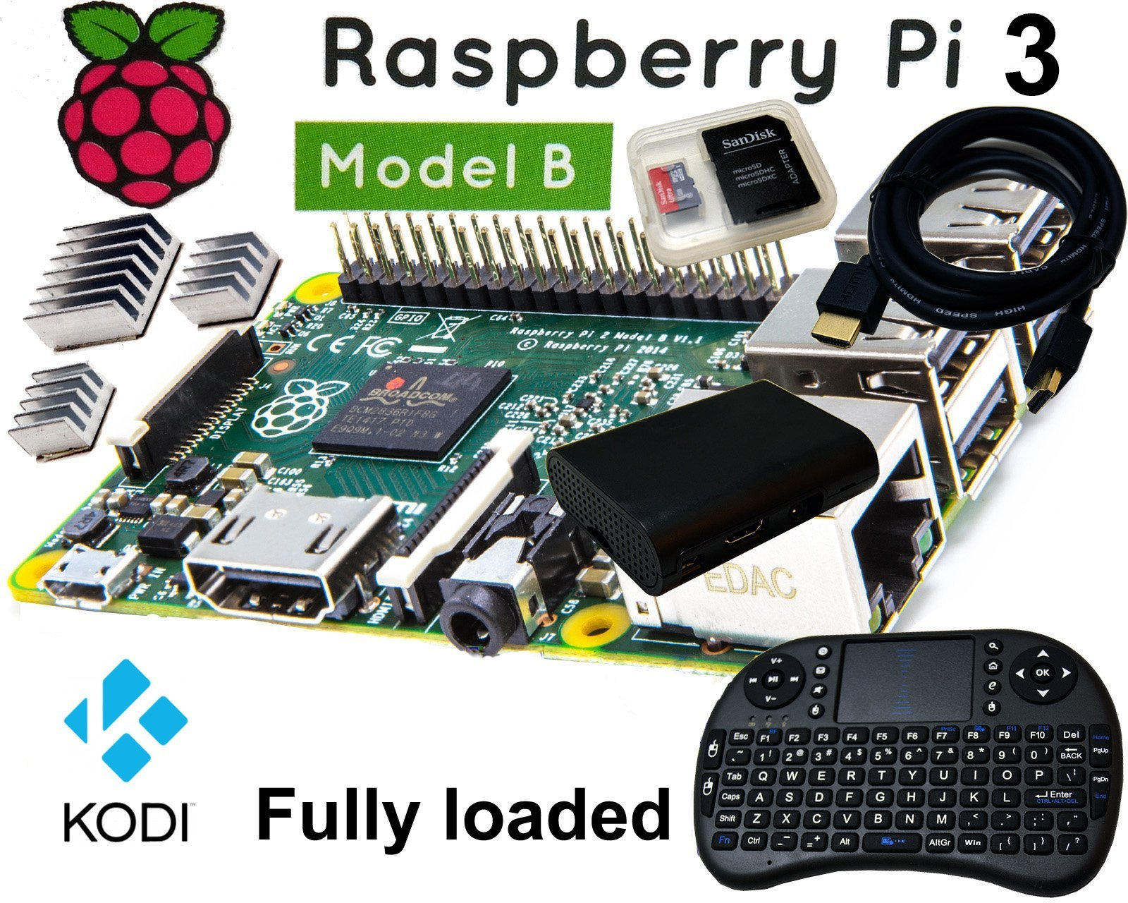 12voltnet Raspberry Pi 3+ Model B 1GB RAM LibreElec 8.2.5 Kodi 17.6 Media Center 16GB SD Class10
