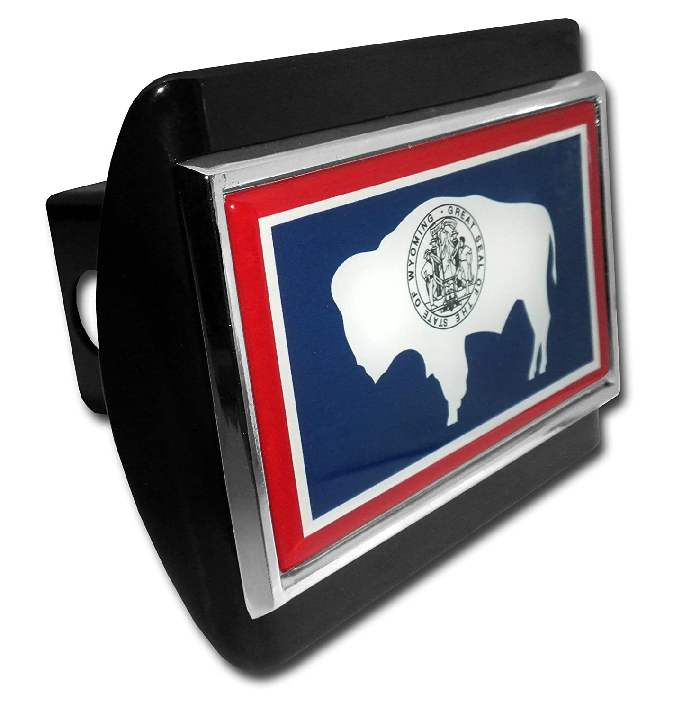 Elektroplate Wyoming Flag ALL METAL Black Hitch Cover