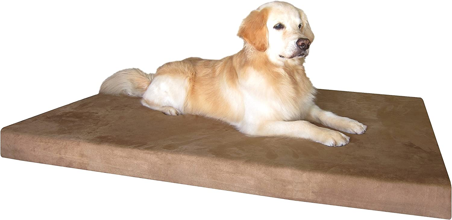 Dogbed4less XXL Orthopedic Gel Cooling Memory Foam Pet Bed with Waterproof Internal Case 2 Washable Microsuede External Cover for Larger Dog