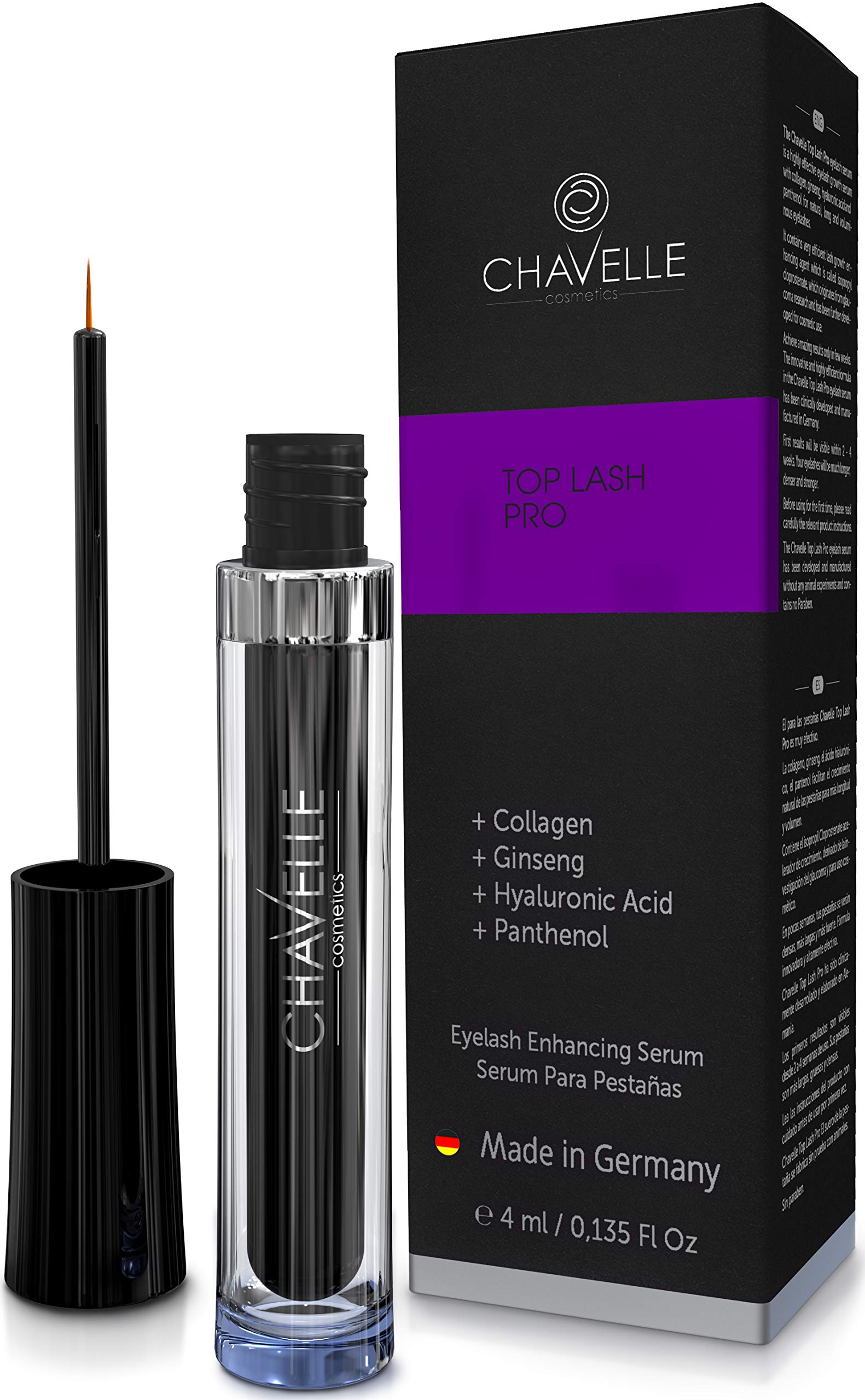 Top Lash Pro eyelash growth serum 4 ml. MADE IN GERMANY I Highly effective eyelash extension serum I for long eyelashes and eyebrows I eyelash enhancer serum I longer eyelashes I eyelash booster
