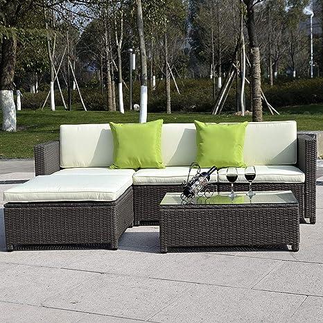 Amazon.com: K & una empresa mimbre Patio de ratán sofá ...