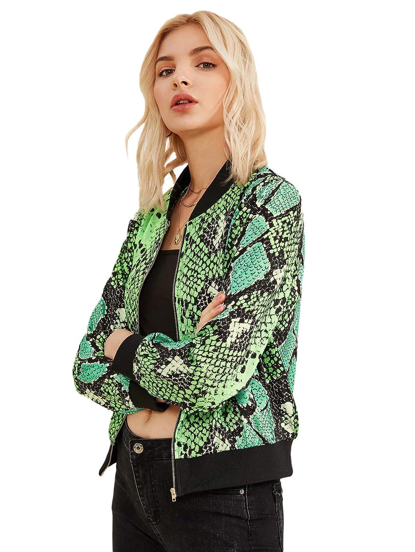 Floerns Womens Snakeskin Print Short Bomber Jacket