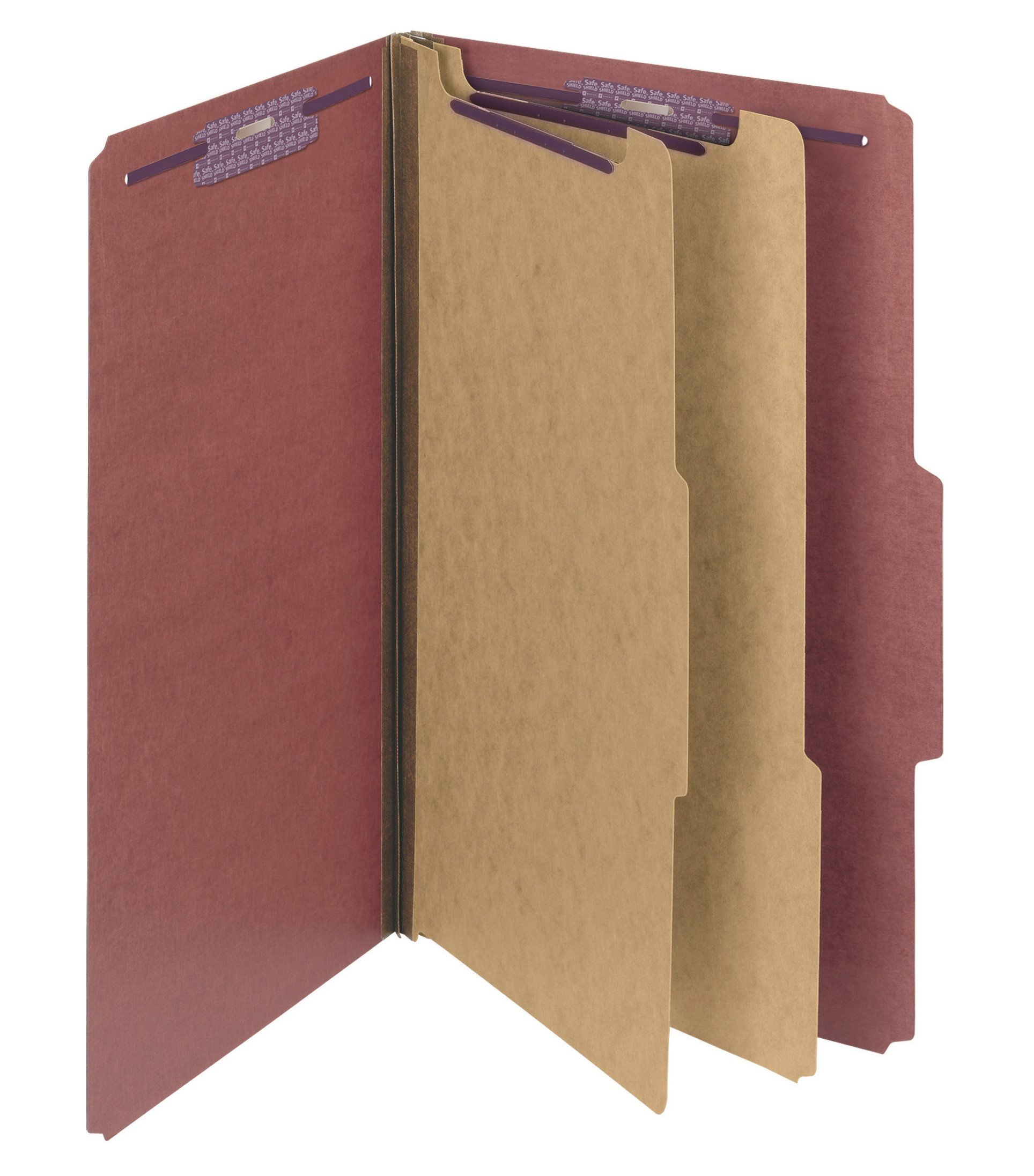 Smead Pressboard Classification File Folder with SafeSHIELD Fasteners, 2 Dividers, 2'' Expansion, Legal Size, Red, 10 per Box (19075)